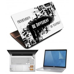 Indiashopers Be Different 4 in 1 Combo of 15.6 Inch Laptop Skins, Screen Guard, Key Protector and Palmrest Skin