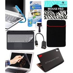 Finearts 8 In 1 Combo Of 3d Laptop Skin, Mouse Pad, Lcd Cleaning Kit, Sleeve, Screen And Key Guard, Otg And Usb Led Light