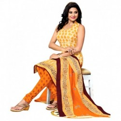 Drapes Yellow Cotton Printed Unstitched Dress Material with Dupatta