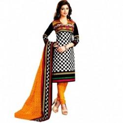 Drapes White & Black Printed Unstitched Cotton Dress material