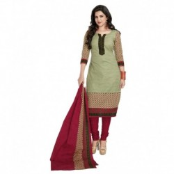Shree Ganesh Green Cotton Straight Unstitched Dress Material