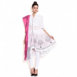 Biba White Cotton Salwar Suit With Dupatta