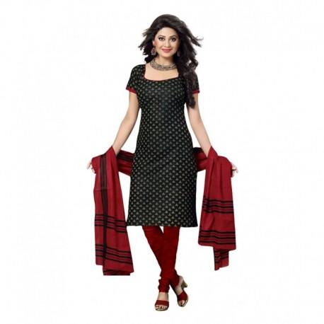 Drapes Black Cotton Unstitched Dress Material