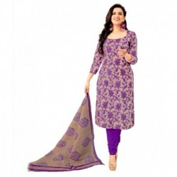 Shree Ganesh Beige & Purple Cotton Unstitched Dress Material with Dupatta