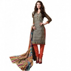 Drapes Multicoloured-Coloured Cotton Printed Unstitched Dress Material