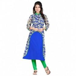 Aashvi Creation Blue Poly Rayon Kurti