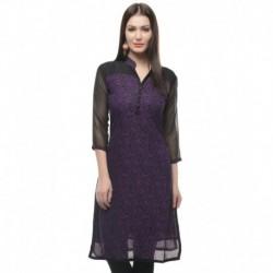 Jainish Purple  Chinese Collar Georgette Printed Kurti