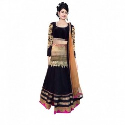 Indian Designer Multi Color Net Embroidered Semi Stitched Lehenga