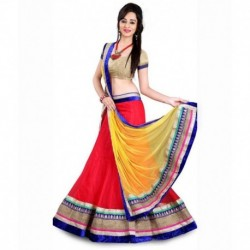 VEDIKA FASHION Red Net Lehenga