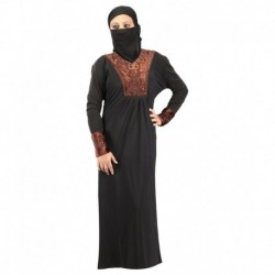Hawai Black Rayon Stitched Burqas With Hijab