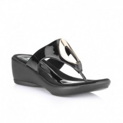 Catwalk Black Wedge Heeled Slip-Ons