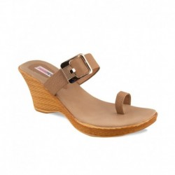 Pink Fever Brown Heeled Slip-on