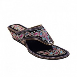 E-Handicrafts Black Wedge Slip-ons