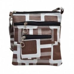 Hawai Brown & White Block Pattern Sling Bag (small)