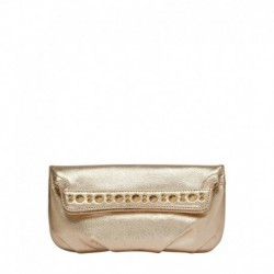 Eske Fancy Gold Leather Clutch