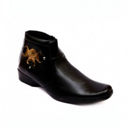 Skylark Black Synthetic Leather Lace Men Boots