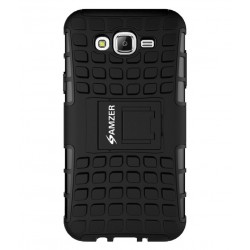Amzer Hybrid Warrior Case - Black/ Black for Samsung Galaxy J7 SM-J700F