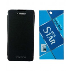 SBG Black Flip Cover for Coolpad Dazen 1 with Mobstar Diamond Screenguard.