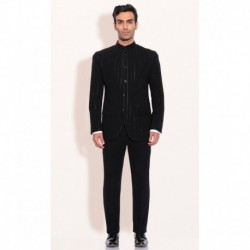 Ashish N Soni Black Polyester Mens Bandgala Jacket With Pants