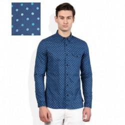 United Colors Of Benetton Blue Slim Fit Linen Blend Shirt