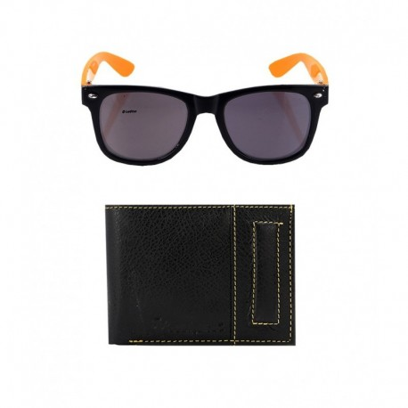 Elligator Black Leather Wallet With Lotto Wayfarer Sunglass Combo