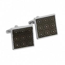 Lino Perros Gray Metal Enamel Cufflinks