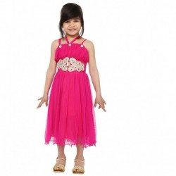 Tiny Toon Pink Sleevless Knee Length Synthetic Girls Dress