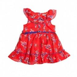 Nauti Nati Faux georgette Printed  Red Dress For Kids