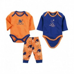Snuggles Set of Orange & Blue Bottoms & 2 Rompers