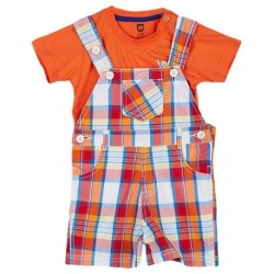 612 League Orange Checked Dungaree Set