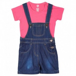 612 League Pink & Blue Dungaree Set