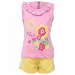 Baby League Yellow Cotton Half Sleeves Regular Top & Bottom Set