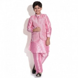 waaz Pink Color Kurta Pajama Set With Jacket For Kids