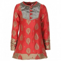 ttle Kangaroo Full Sleeves Red Color Round Neck Kurti For Kids