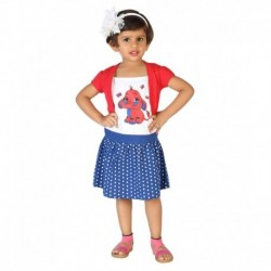 Lil Orchids Red Cotton Girls Printed Casual Dress