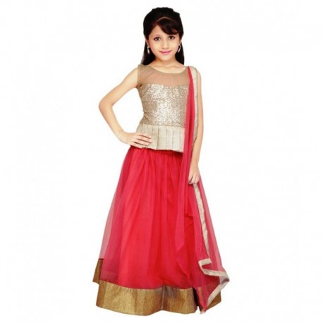 Creativeswilla Pink Lehenga For Girls