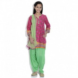 Biba Cotton Blend Pink Full Sleeve Salwar Kameez For Kids