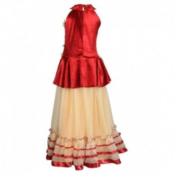 Crazeis Red & Beige Lehenga Choli For Girls