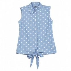 Gini & Jony Blue Cotton Sleeveless Woven Top