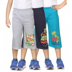 Dongli Multicolour Cotton Three-fourth - Pack Of 3