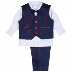 Mom & Me Set of White Shirt, Navy Blue Trousers, Waistcoat & Bow Tie