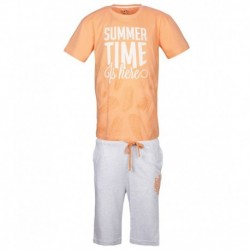 Gini & Jony Orange Printed T-Shirt With Bermuda Shorts