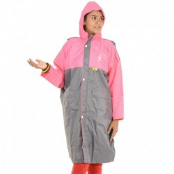 Allwin Gray Polyester Full Sleeve Long Raincoat For Boys And Girls