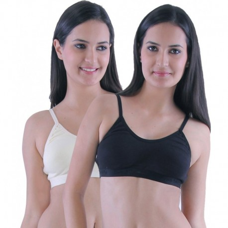 Eves Beauty Beige and Black Seamless Sports Bra-Pack of 2