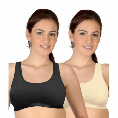 Selfcare Multi Color Cotton Sports Bras- Pack of 2