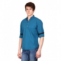 i-VOC Mens Royal Blue Short Cotton Kurta