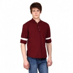 i-VOC Mens Maroon Short Cotton Kurta