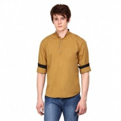 i-VOC Mens Khaki Short Cotton Kurta