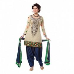 Shruti Fashion Beige Chanderi Embroidered Un-Stitched Salwar Suit