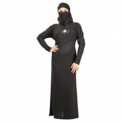 Hawai Black Rayon Stitched Burqas With Hijab